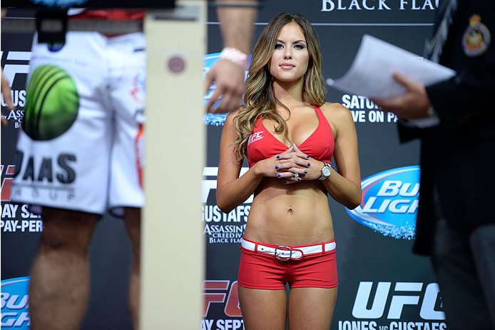 TORONTO, CANADA - SEPTEMBER 20:  UFC Octagon Girl Brittney Palmer stands on stage during the UFC 165 weigh-in at the Maple Leaf Square on September 20, 2013 in Toronto, Ontario, Canada. (Photo by Jeff Bottari/Zuffa LLC/Zuffa LLC via Getty Images)