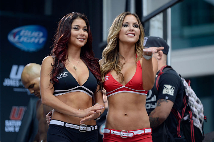TORONTO, CANADA - SEPTEMBER 20:  UFC Octagon Girls Arianny Celeste and Brittney Palmer stand on stage during the UFC 165 weigh-in at the Maple Leaf Square on September 20, 2013 in Toronto, Ontario, Canada. (Photo by Jeff Bottari/Zuffa LLC/Zuffa LLC via Getty Images)