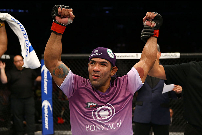 TORONTO, CANADA - SEPTEMBER 21:  Michel Prazeres celebrates after defeating Jesse Ronson (not pictured) in their UFC lightweight bout at the Air Canada Center on September 21, 2013 in Toronto, Ontario, Canada. (Photo by Al Bello/Zuffa LLC/Zuffa LLC via Getty Images) *** Local Caption *** Michel Prazeres