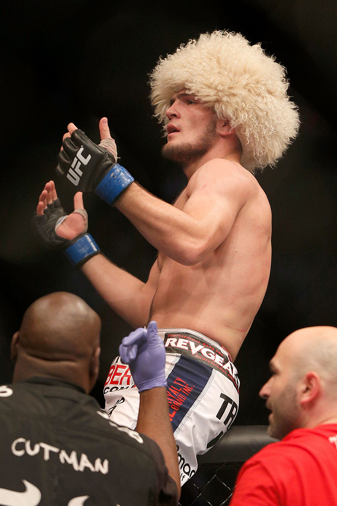 TORONTO, CANADA - SEPTEMBER 21:  Khabib Nurmagomedov celebrates after defeating Pat Healy (not pictured) in their UFC lightweight bout at the Air Canada Center on September 21, 2013 in Toronto, Ontario, Canada. (Photo by Josh Hedges/Zuffa LLC/Zuffa LLC via Getty Images) *** Local Caption ***  Khabib Nurmagomedov