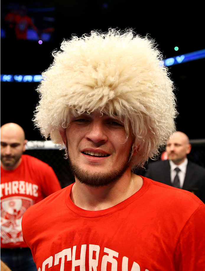 TORONTO, CANADA - SEPTEMBER 21:  Khabib Nurmagomedov celebrates after defeating Pat Healy (not pictured) in their UFC lightweight bout at the Air Canada Center on September 21, 2013 in Toronto, Ontario, Canada. (Photo by Al Bello/Zuffa LLC/Zuffa LLC via Getty Images) *** Local Caption ***  Khabib Nurmagomedov