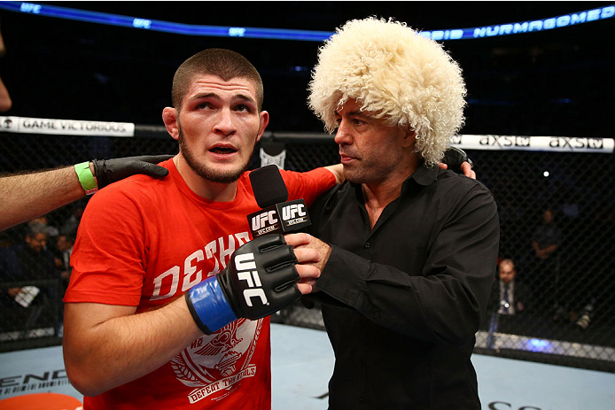 TORONTO, CANADA - SEPTEMBER 21:  Khabib Nurmagomedov (L) speaks with Joe Rogan (R) after defeating Pat Healy (not pictured) in their UFC lightweight bout at the Air Canada Center on September 21, 2013 in Toronto, Ontario, Canada. (Photo by Al Bello/Zuffa LLC/Zuffa LLC via Getty Images) *** Local Caption ***  Khabib Nurmagomedov; Joe Rogan