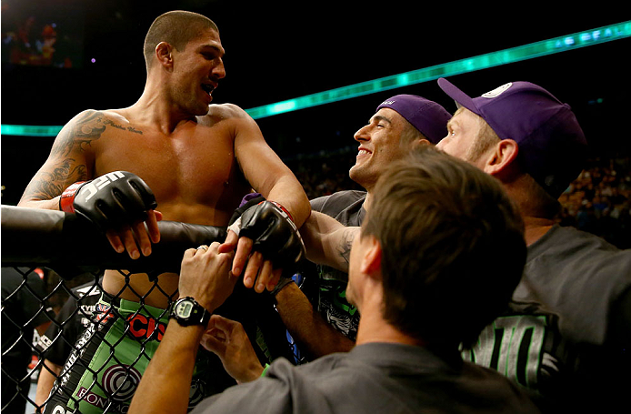 TORONTO, CANADA - SEPTEMBER 21:  Brendan Schaub celebrates with his corner after defeating Matt Mitrione (not pictured) in their UFC heavyweight bout at the Air Canada Center on September 21, 2013 in Toronto, Ontario, Canada. (Photo by Al Bello/Zuffa LLC/Zuffa LLC via Getty Images) *** Local Caption *** Brendan Schaub