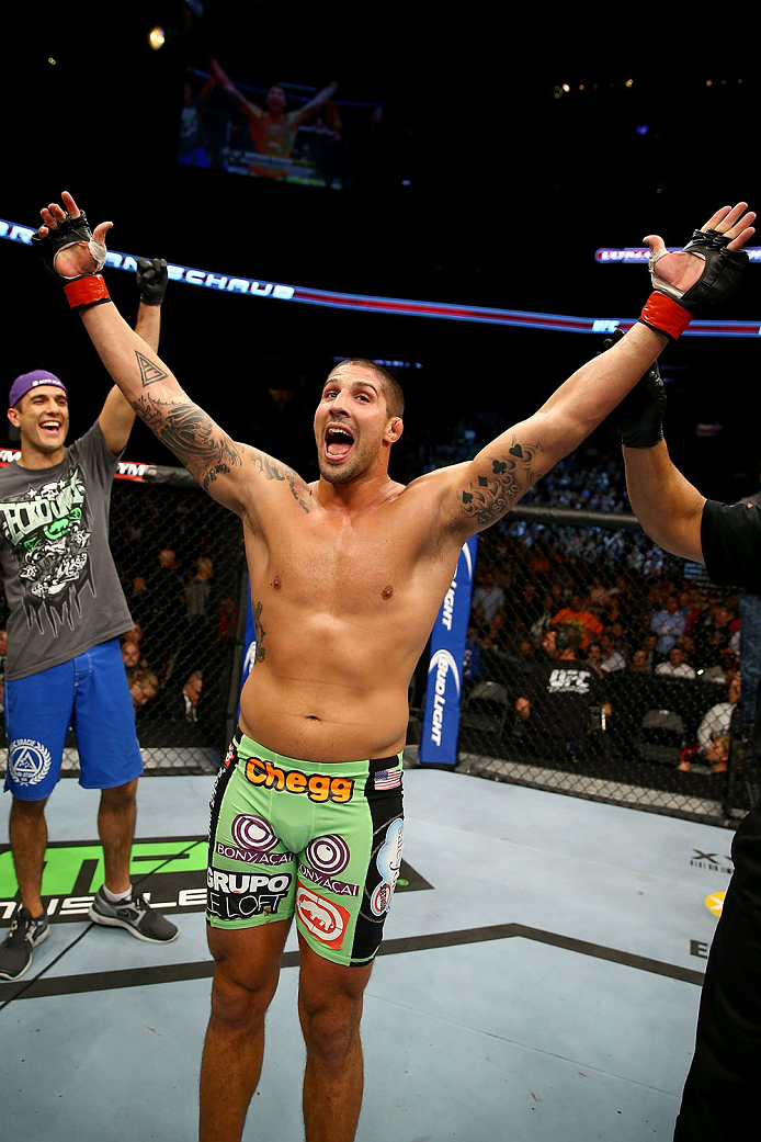 TORONTO, CANADA - SEPTEMBER 21:  Brendan Schaub celebrates after defeating Matt Mitrione (not pictured) in their UFC heavyweight bout at the Air Canada Center on September 21, 2013 in Toronto, Ontario, Canada. (Photo by Al Bello/Zuffa LLC/Zuffa LLC via Getty Images) *** Local Caption *** Brendan Schaub