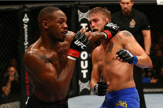 TORONTO, CANADA - SEPTEMBER 21:  Jon 'Bones' Jones punches Alexander Gustafsson in their UFC light heavyweight championship bout at the Air Canada Center on September 21, 2013 in Toronto, Ontario, Canada. (Photo by Al Bello/Zuffa LLC/Zuffa LLC via Getty Images) *** Local Caption *** Jon Jones; Alexander Gustafsson