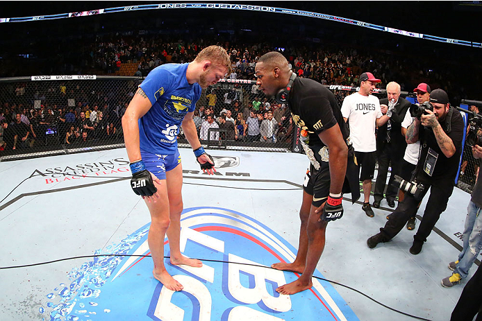 TORONTO, CANADA - SEPTEMBER 21:  (L-R) Alexander Gustafsson congratulates Jon 'Bones' Jones after Jones defeated Gustafsson in their UFC light heavyweight championship bout at the Air Canada Center on September 21, 2013 in Toronto, Ontario, Canada. (Photo by Al Bello/Zuffa LLC/Zuffa LLC via Getty Images) *** Local Caption *** Jon Jones; Alexander Gustafsson