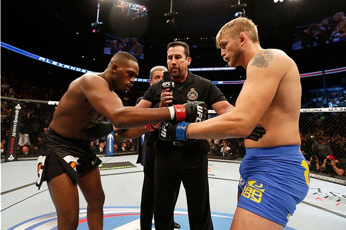 TORONTO, CANADA - SEPTEMBER 21:  (L-R) Jon 'Bones' Jones and Alexander Gustafsson touch gloves prior to their UFC light heavyweight championship bout at the Air Canada Center on September 21, 2013 in Toronto, Ontario, Canada. (Photo by Josh Hedges/Zuffa LLC/Zuffa LLC via Getty Images) *** Local Caption *** Jon Jones; Alexander Gustafsson