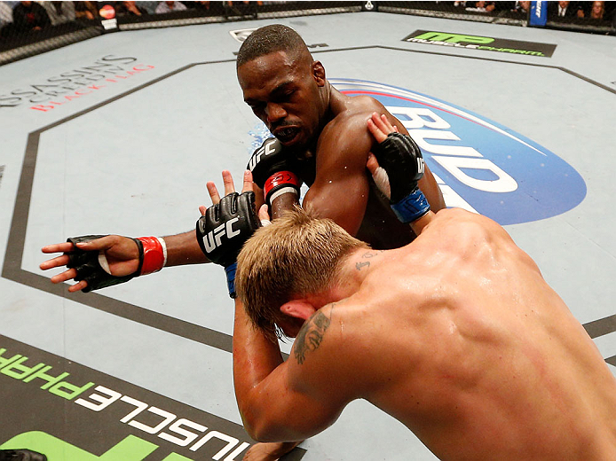 TORONTO, CANADA - SEPTEMBER 21:  (L-R) Jon 'Bones' Jones throws an elbow to the head of Alexander Gustafsson in their UFC light heavyweight championship bout at the Air Canada Center on September 21, 2013 in Toronto, Ontario, Canada. (Photo by Josh Hedges/Zuffa LLC/Zuffa LLC via Getty Images) *** Local Caption *** Jon Jones; Alexander Gustafsson