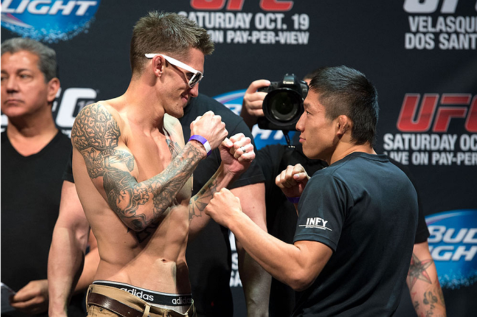 HOUSTON, TX - OCTOBER 18:  (L-R) Dustin Pague and Kyoji Horiguchi face off during the UFC 166 weigh-in at the Toyota Center on October 18, 2013 in Houston, Texas. (Photo by Jeff Bottari/Zuffa LLC/Zuffa LLC via Getty Images) *** Local Caption *** Dustin Pague; Kyoji Horiguchi