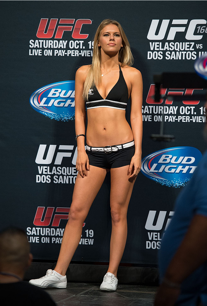 HOUSTON, TX - OCTOBER 18:  UFC Octagon Girl Chrissy Blair stands on stage during the UFC 166 weigh-in at the Toyota Center on October 18, 2013 in Houston, Texas. (Photo by Jeff Bottari/Zuffa LLC/Zuffa LLC via Getty Images) *** Local Caption *** Chrissy Blair