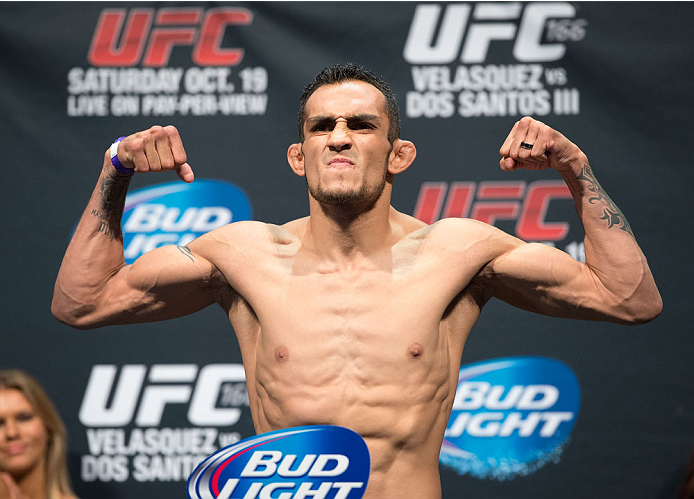 HOUSTON, TX - OCTOBER 18:  Tony Ferguson weighs in during the UFC 166 weigh-in at the Toyota Center on October 18, 2013 in Houston, Texas. (Photo by Jeff Bottari/Zuffa LLC/Zuffa LLC via Getty Images) *** Local Caption *** Tony Ferguson