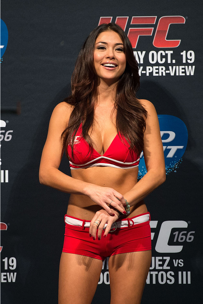 HOUSTON, TX - OCTOBER 18:  UFC Octagon Girl Arianny Celeste stands on stage during the UFC 166 weigh-in at the Toyota Center on October 18, 2013 in Houston, Texas. (Photo by Jeff Bottari/Zuffa LLC/Zuffa LLC via Getty Images) *** Local Caption *** Arianny Celeste