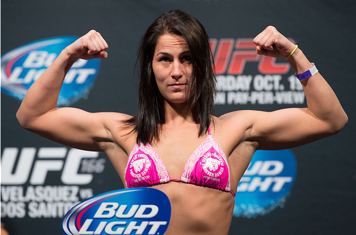 HOUSTON, TX - OCTOBER 18:  Jessica Eye weighs in during the UFC 166 weigh-in at the Toyota Center on October 18, 2013 in Houston, Texas. (Photo by Jeff Bottari/Zuffa LLC/Zuffa LLC via Getty Images) *** Local Caption *** Jessica Eye