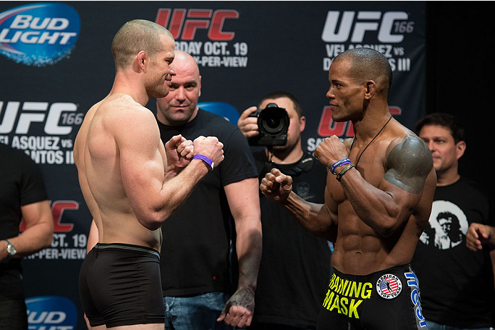 HOUSTON, TX - OCTOBER 18:  (L-R) Nate Marquardt and Hector Lombard face off during the UFC 166 weigh-in at the Toyota Center on October 18, 2013 in Houston, Texas. (Photo by Jeff Bottari/Zuffa LLC/Zuffa LLC via Getty Images) *** Local Caption *** Nate Marquardt; Hector Lombard