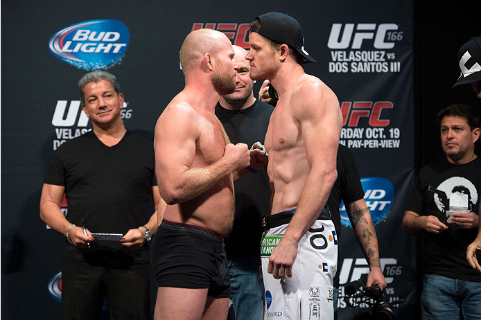 HOUSTON, TX - OCTOBER 18:  (L-R) Tim Boetsch and CB Dollaway face off during the UFC 166 weigh-in at the Toyota Center on October 18, 2013 in Houston, Texas. (Photo by Jeff Bottari/Zuffa LLC/Zuffa LLC via Getty Images) *** Local Caption *** Tim Boetsch; CB Dollaway