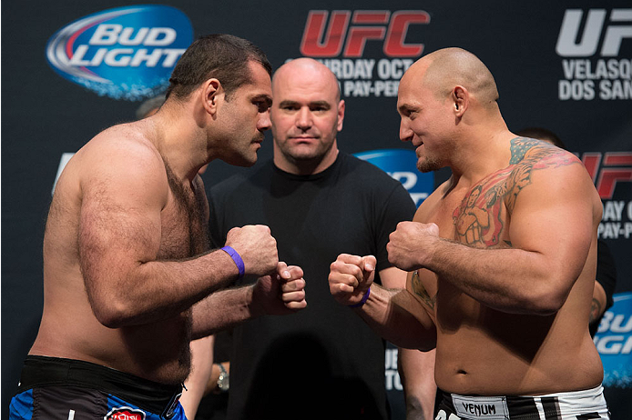 HOUSTON, TX - OCTOBER 18:  (L-R) Gabriel Gonzaga and Shawn Jordan face off during the UFC 166 weigh-in at the Toyota Center on October 18, 2013 in Houston, Texas. (Photo by Jeff Bottari/Zuffa LLC/Zuffa LLC via Getty Images) *** Local Caption *** Gabriel Gonzaga; Shawn Jordan