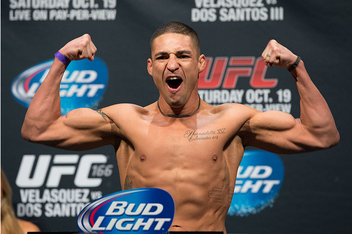 HOUSTON, TX - OCTOBER 18:  Diego Sanchez weighs in during the UFC 166 weigh-in at the Toyota Center on October 18, 2013 in Houston, Texas. (Photo by Jeff Bottari/Zuffa LLC/Zuffa LLC via Getty Images) *** Local Caption *** Diego Sanchez