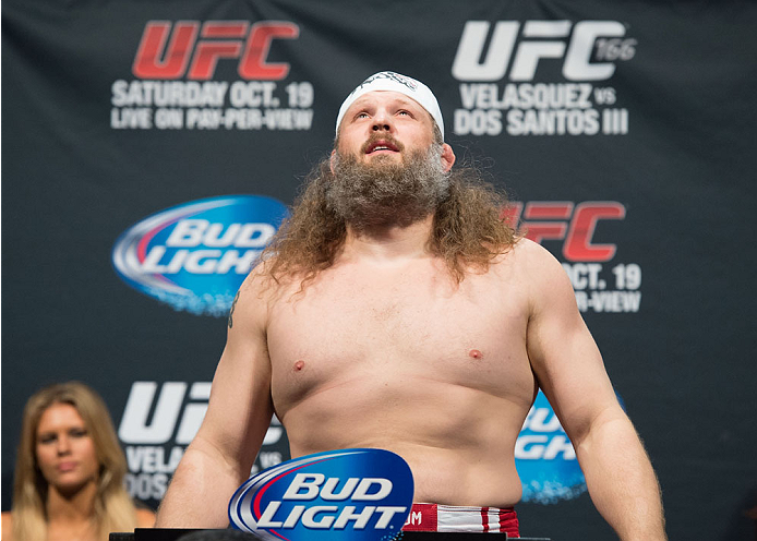 HOUSTON, TX - OCTOBER 18:  Roy 'Big Country' Nelson weighs in during the UFC 166 weigh-in at the Toyota Center on October 18, 2013 in Houston, Texas. (Photo by Jeff Bottari/Zuffa LLC/Zuffa LLC via Getty Images) *** Local Caption *** Roy Nelson