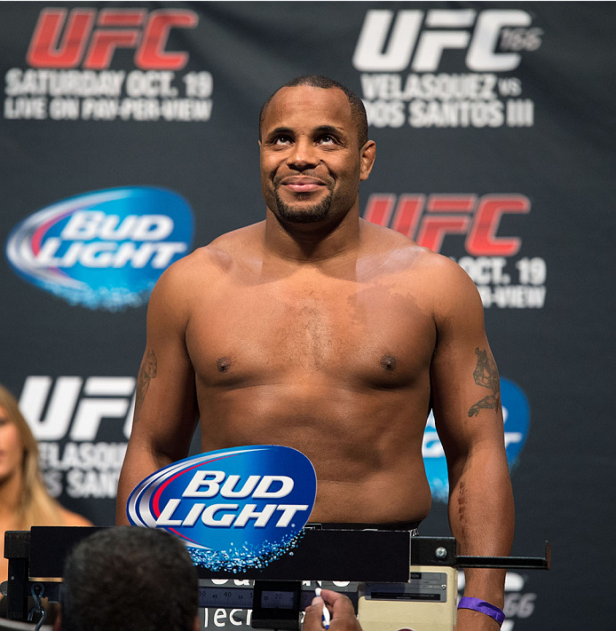 HOUSTON, TX - OCTOBER 18:  Daniel Cormier weighs in during the UFC 166 weigh-in at the Toyota Center on October 18, 2013 in Houston, Texas. (Photo by Jeff Bottari/Zuffa LLC/Zuffa LLC via Getty Images) *** Local Caption *** Daniel Cormier