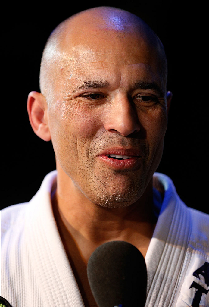 LAS VEGAS, NV - NOVEMBER 13: UFC legend Royce Gracie interacts with media after an open workout session inside the Hollywood Theatre at the MGM Grand Hotel/Casino on November 13, 2013 in Las Vegas, Nevada. (Photo by Josh Hedges/Zuffa LLC/Zuffa LLC via Getty Images)
