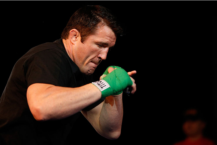 LAS VEGAS, NV - NOVEMBER 13: Chael Sonnen holds an open workout session for media inside the Hollywood Theatre at the MGM Grand Hotel/Casino on November 13, 2013 in Las Vegas, Nevada. (Photo by Josh Hedges/Zuffa LLC/Zuffa LLC via Getty Images)