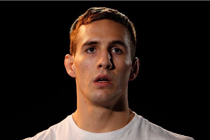 LAS VEGAS, NV - NOVEMBER 13: Rory MacDonald holds an open workout session for media inside the Hollywood Theatre at the MGM Grand Hotel/Casino on November 13, 2013 in Las Vegas, Nevada. (Photo by Josh Hedges/Zuffa LLC/Zuffa LLC via Getty Images)