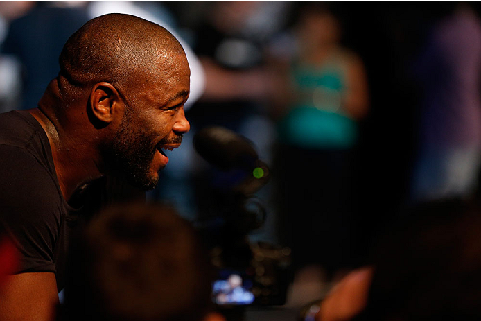LAS VEGAS, NV - NOVEMBER 13: Rashad Evans interacts with media after an open workout session inside the Hollywood Theatre at the MGM Grand Hotel/Casino on November 13, 2013 in Las Vegas, Nevada. (Photo by Josh Hedges/Zuffa LLC/Zuffa LLC via Getty Images)