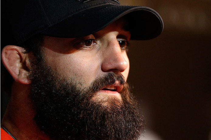 LAS VEGAS, NV - NOVEMBER 13: Johny Hendricks interacts with media after an open workout session inside the Hollywood Theatre at the MGM Grand Hotel/Casino on November 13, 2013 in Las Vegas, Nevada. (Photo by Josh Hedges/Zuffa LLC/Zuffa LLC via Getty Images)