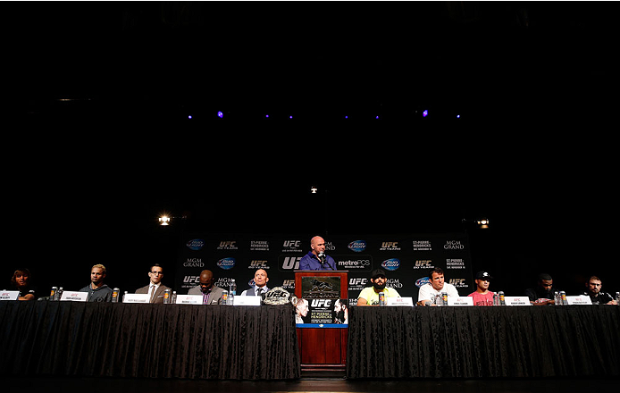 LAS VEGAS, NV - NOVEMBER 14: A general view of the fighters on the dais during the final UFC 167 pre-fight press conference inside the Hollywood Theatre at the MGM Grand Hotel/Casino on November 14, 2013 in Las Vegas, Nevada. (Photo by Josh Hedges/Zuffa LLC/Zuffa LLC via Getty Images)