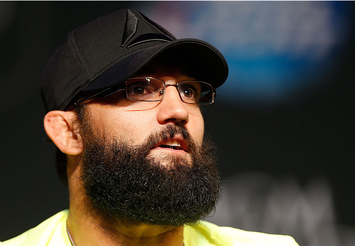 LAS VEGAS, NV - NOVEMBER 14: UFC welterweight title challenger Johny Hendricks interacts with media during the final UFC 167 pre-fight press conference inside the Hollywood Theatre at the MGM Grand Hotel/Casino on November 14, 2013 in Las Vegas, Nevada. (Photo by Josh Hedges/Zuffa LLC/Zuffa LLC via Getty Images)