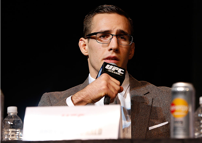 LAS VEGAS, NV - NOVEMBER 14: Rory MacDonald interacts with media during the final UFC 167 pre-fight press conference inside the Hollywood Theatre at the MGM Grand Hotel/Casino on November 14, 2013 in Las Vegas, Nevada. (Photo by Josh Hedges/Zuffa LLC/Zuffa LLC via Getty Images)