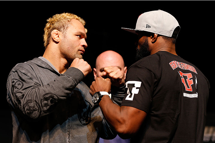 LAS VEGAS, NV - NOVEMBER 14: (L-R) Opponents Josh Koscheck and Tyron Woodley face off during the final UFC 167 pre-fight press conference inside the Hollywood Theatre at the MGM Grand Hotel/Casino on November 14, 2013 in Las Vegas, Nevada. (Photo by Josh Hedges/Zuffa LLC/Zuffa LLC via Getty Images)