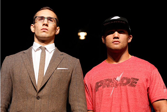 LAS VEGAS, NV - NOVEMBER 14: (L-R) Opponents Rory MacDonald and Robbie Lawler pose for photos during the final UFC 167 pre-fight press conference inside the Hollywood Theatre at the MGM Grand Hotel/Casino on November 14, 2013 in Las Vegas, Nevada. (Photo by Josh Hedges/Zuffa LLC/Zuffa LLC via Getty Images)