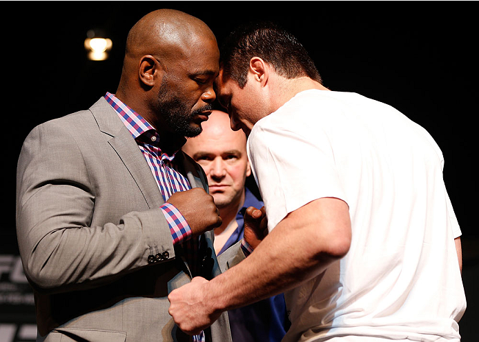 LAS VEGAS, NV - NOVEMBER 14: (L-R) Opponents Rashad Evans and Chael Sonnen face off during the final UFC 167 pre-fight press conference inside the Hollywood Theatre at the MGM Grand Hotel/Casino on November 14, 2013 in Las Vegas, Nevada. (Photo by Josh Hedges/Zuffa LLC/Zuffa LLC via Getty Images)