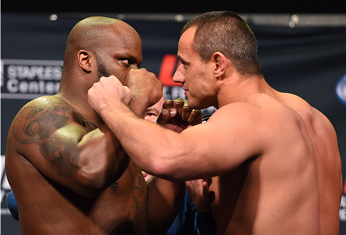 LOS ANGELES, CA - FEBRUARY 27:  (L-R) Opponents Derrick Lewis and Ruan Potts of South Africa face off during the UFC 184 weigh-in at the Event Deck and LA Live on February 27, 2015 in Los Angeles, California. (Photo by Josh Hedges/Zuffa LLC/Zuffa LLC via Getty Images)