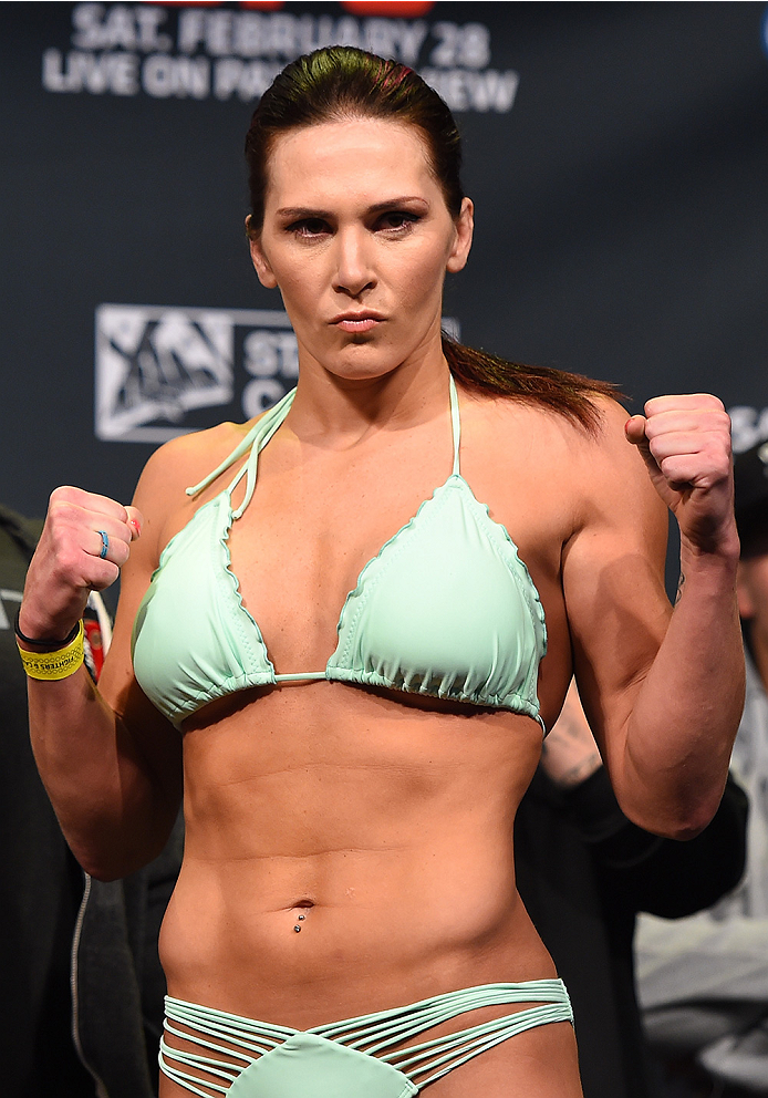 Cat Zingano poses for photos during the UFC 184 weigh-in aty the Event Deck and LA Live on Feb. 27, 2015 in Los Angeles, California (Josh Hedges)