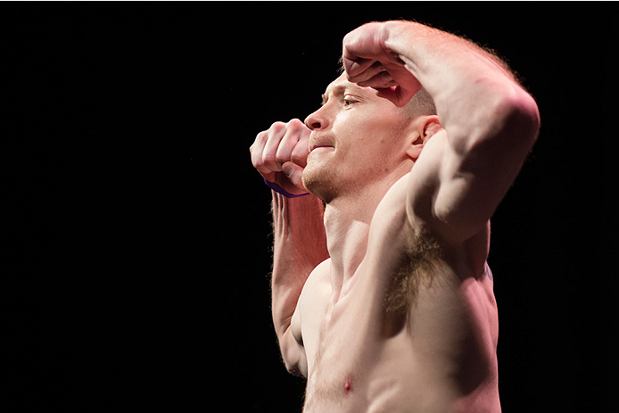 Joseph Duffy stands on the scale during the UFC 185 weigh-ins, March 2015 in Dallas, TX. (Photo by Cooper Neill/Zuffa LLC)