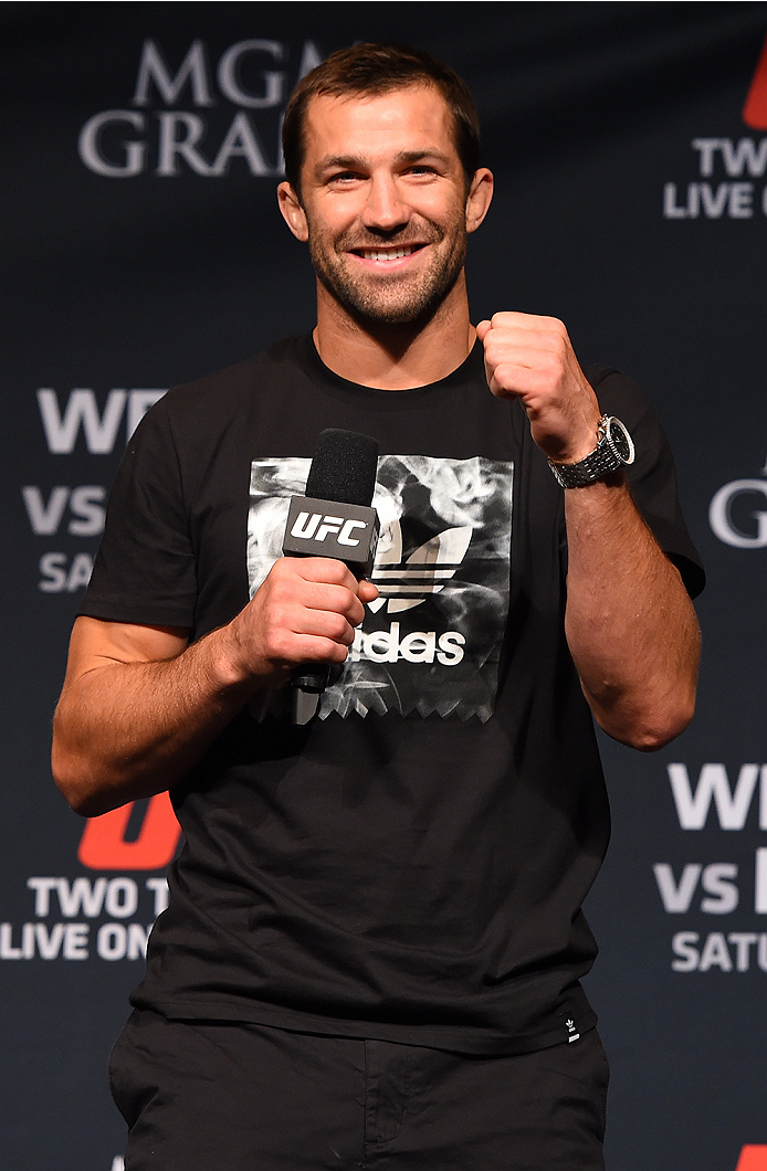 LAS VEGAS, NV - MAY 22:   UFC middleweight contender Luke Rockhold interacts with fans during a Q&A session before the UFC 187 weigh-in at the MGM Grand Conference Center on May 2, 2015 in Las Vegas, Nevada. (Photo by Josh Hedges/Zuffa LLC/Zuffa LLC via Getty Images)