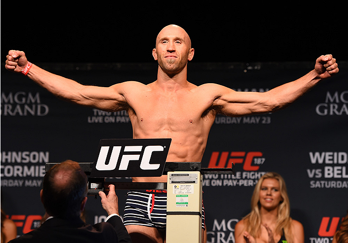 LAS VEGAS, NV - MAY 22:   Josh Burkman weighs in during the UFC 187 weigh-in at the MGM Grand Conference Center on May 22, 2015 in Las Vegas, Nevada. (Photo by Josh Hedges/Zuffa LLC/Zuffa LLC via Getty Images)
