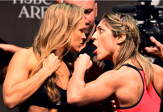 Ronda Rousey and Bethe Correia face-off at the UFC 190 weigh-in