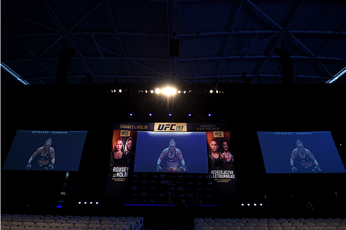 MELBOURNE, AUSTRALIA - NOVEMBER 14:  A general view of the stage prior to the UFC 193 weigh-in at Etihad Stadium on November 14, 2015 in Melbourne, Australia. (Photo by Josh Hedges/Zuffa LLC/Zuffa LLC via Getty Images)