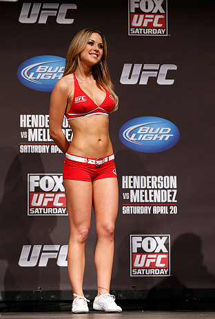 SAN JOSE, CA - APRIL 19:   UFC Octagon Girl Brittney Palmer stands on stage during the UFC on FOX weigh-in at the California Theatre on April 19, 2013 in San Jose, California.  (Photo by Josh Hedges/Zuffa LLC/Zuffa LLC via Getty Images)