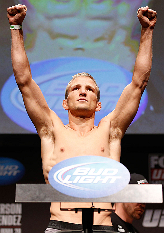 SAN JOSE, CA - APRIL 19:   T.J. Dillashaw weighs in during the UFC on FOX weigh-in at the California Theatre on April 19, 2013 in San Jose, California.  (Photo by Josh Hedges/Zuffa LLC/Zuffa LLC via Getty Images)