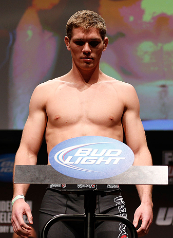 SAN JOSE, CA - APRIL 19:   Jordan Mein weighs in during the UFC on FOX weigh-in at the California Theatre on April 19, 2013 in San Jose, California.  (Photo by Josh Hedges/Zuffa LLC/Zuffa LLC via Getty Images)
