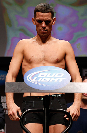 SAN JOSE, CA - APRIL 19:   Nate Diaz weighs in during the UFC on FOX weigh-in at the California Theatre on April 19, 2013 in San Jose, California.  (Photo by Josh Hedges/Zuffa LLC/Zuffa LLC via Getty Images)