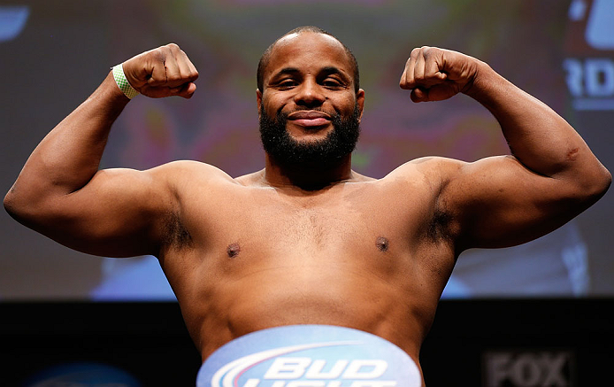 SAN JOSE, CA - APRIL 19:   Daniel Cormier weighs in during the UFC on FOX weigh-in at the California Theatre on April 19, 2013 in San Jose, California.  (Photo by Josh Hedges/Zuffa LLC/Zuffa LLC via Getty Images)