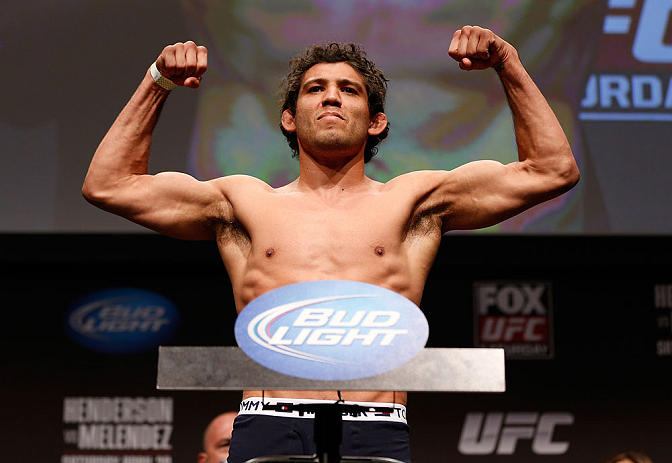 SAN JOSE, CA - APRIL 19:   Gilbert Melendez weighs in during the UFC on FOX weigh-in at the California Theatre on April 19, 2013 in San Jose, California.  (Photo by Josh Hedges/Zuffa LLC/Zuffa LLC via Getty Images)