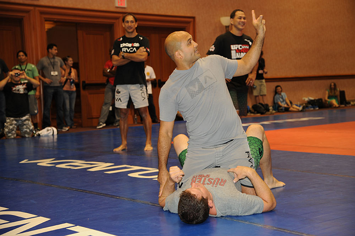 LAS VEGAS, NV - JULY 06: BJ Penn does a training demonstration for fans at the UFC Fan Expo on July 6, 2012 in Las Vegas, Nevada. (Photo by Al Powers /Zuffa LLC/Zuffa LLC via Getty Images) *** Local Caption ***  BJ Penn