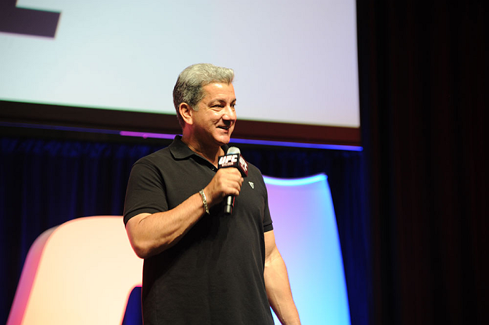 LAS VEGAS, NV - JULY 06:  Bruce Buffer speaks to fans at the UFC Fan Expo on July 6, 2012 in Las Vegas, Nevada. (Photo by Al Powers /Zuffa LLC/Zuffa LLC via Getty Images)