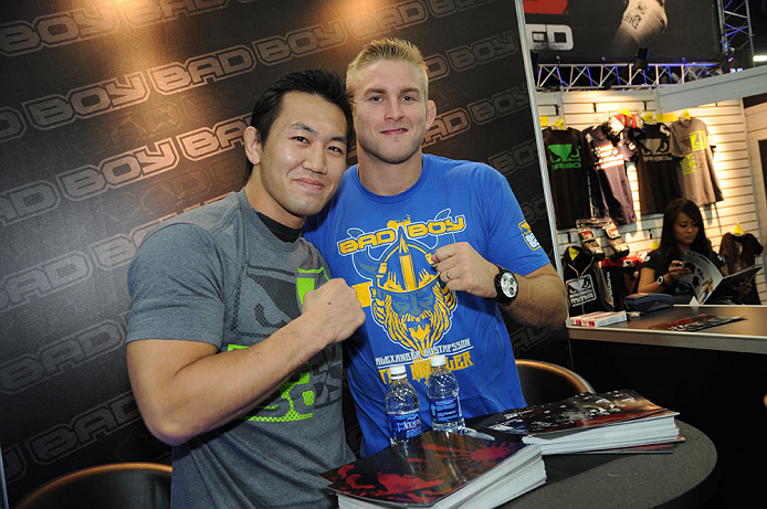 LAS VEGAS, NV - JULY 7:   Yushin Okami and Alexander Gustafsson pose for pictures during the UFC Fan Expo at the Mandalay Bay Convention Center on July 7, 2012 in Las Vegas, Nevada.  (Photo by Al Powers/Zuffa LLC/Zuffa LLC via Getty Images)  *** Local Caption ***